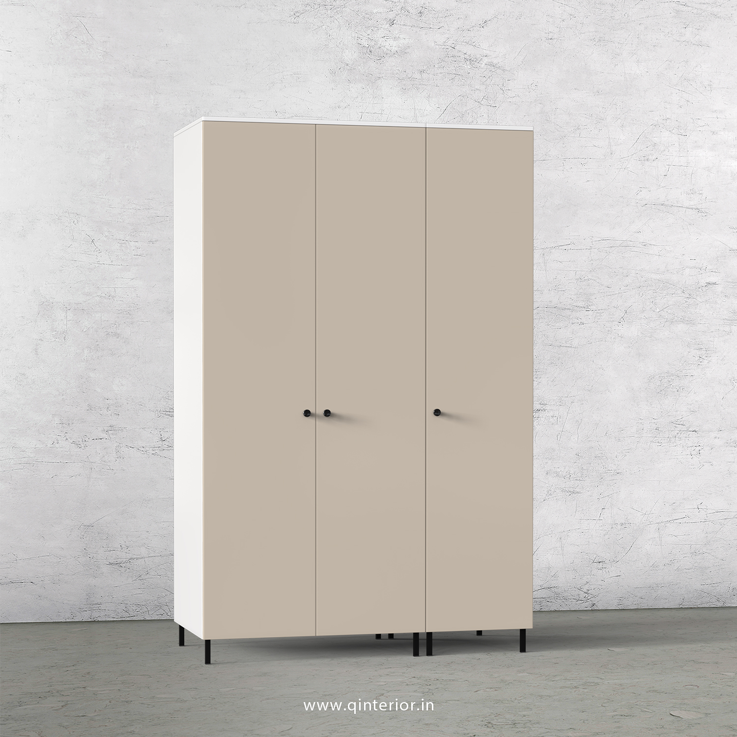 Lambent 3 Door Wardrobe in White and Irish Cream Finish – TWRD001 C88