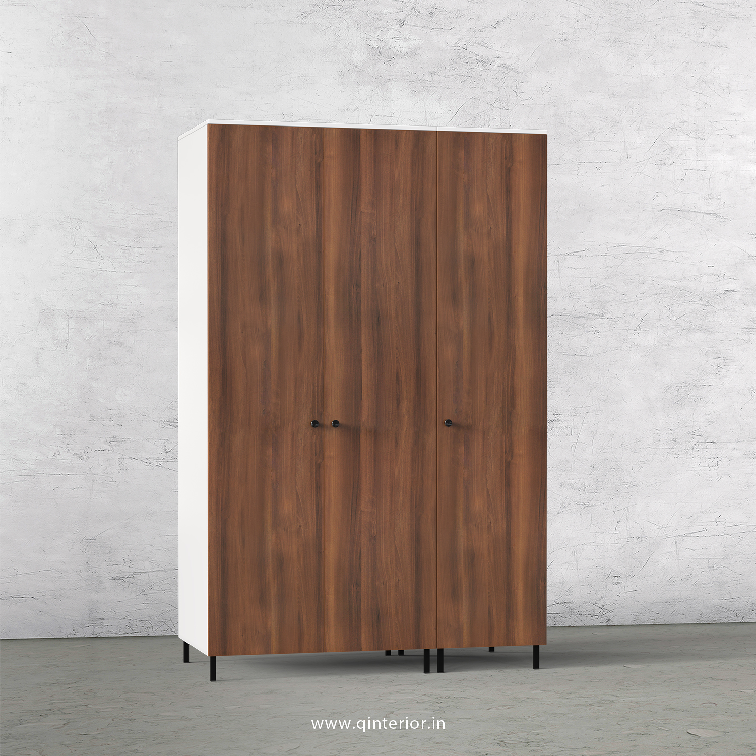 Lambent 3 Door Wardrobe in White and Teak Finish – TWRD001 C9