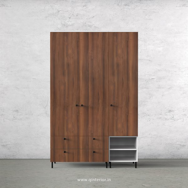 Lambent 3 Door Wardrobe in White and Teak Finish – TWRD003 C9