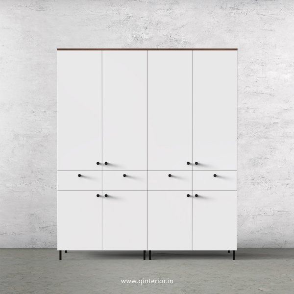 Lambent 4 Door Wardrobe in Teak and White Finish – FWRD008 C6