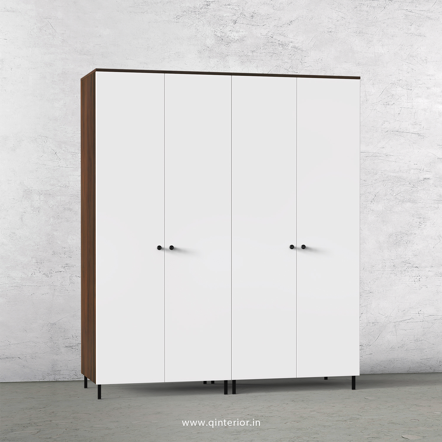 Lambent 4 Door Wardrobe in Walnut and White Finish – FWRD001 C18