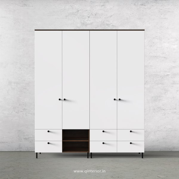 Lambent 4 Door Wardrobe in Walnut and White Finish – FWRD003 C18