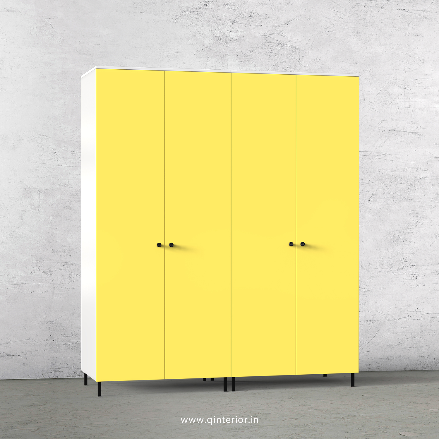 Lambent 4 Door Wardrobe in White and Marigold Finish – FWRD001 C89