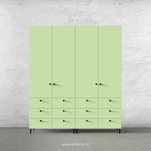 Lambent 4 Door Wardrobe in White and Pairie Green Finish – FWRD005 C83