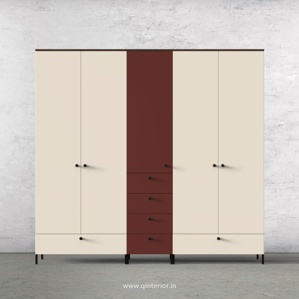 Motley 5 Door Wardrobe in Walnut multi color Finish - WRD003 C55