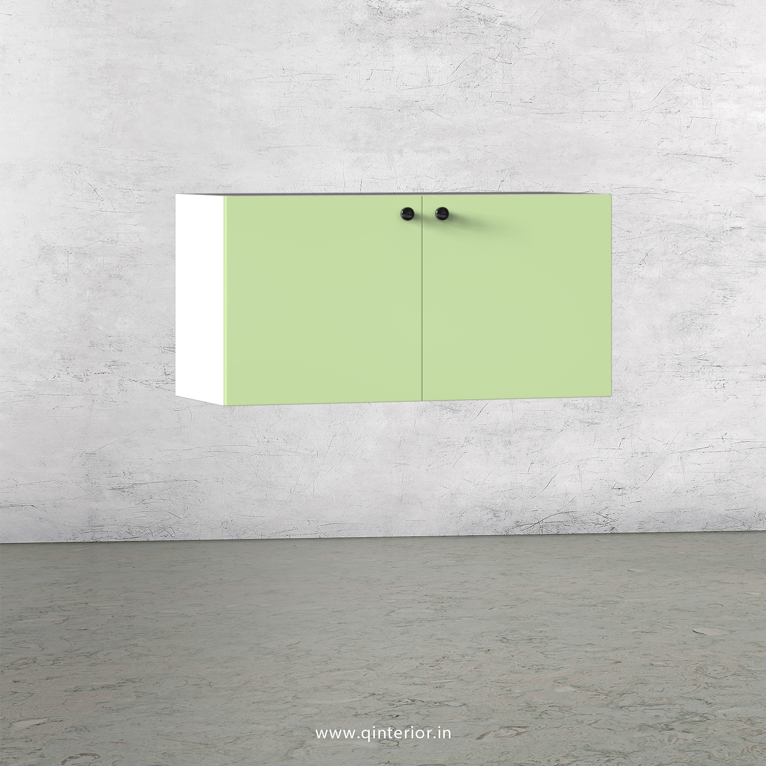 Lambent Washbasin Cabinet in White and Pairie Green Finish – WBC003 C83