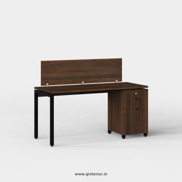 Montel Work Station with Pedestal Unit in Walnut Finish - OWS204 C1