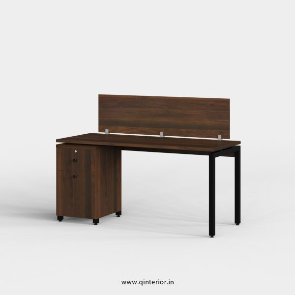 Montel Work Station with Pedestal Unit in Walnut Finish - OWS215 C1