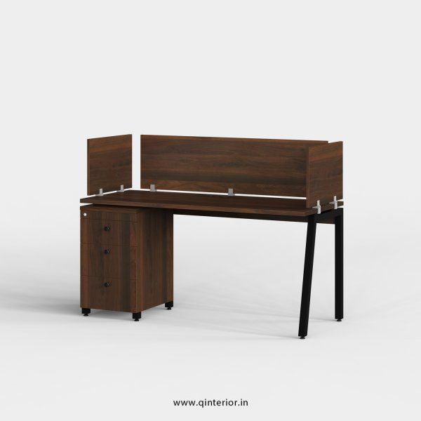 Berg Work Station with Pedestal Unit in Walnut Finish - OWS112 C1
