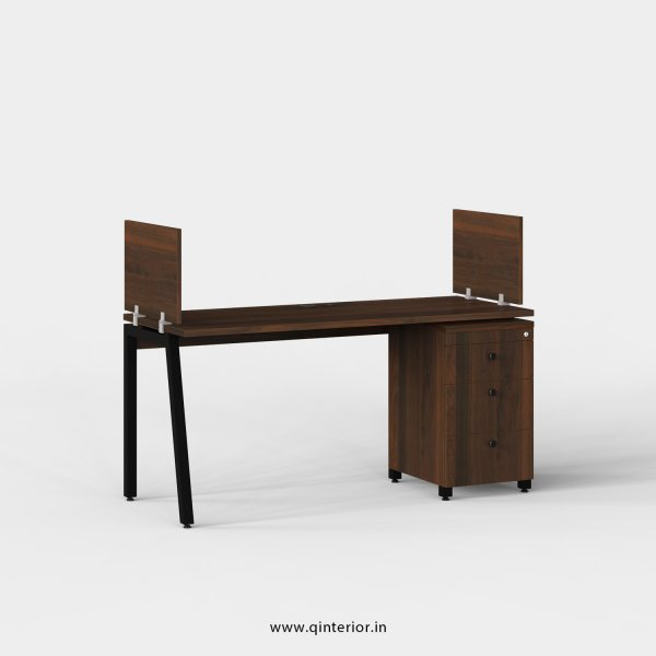 Berg Work Station with Pedestal Unit in Walnut Finish - OWS107 C1