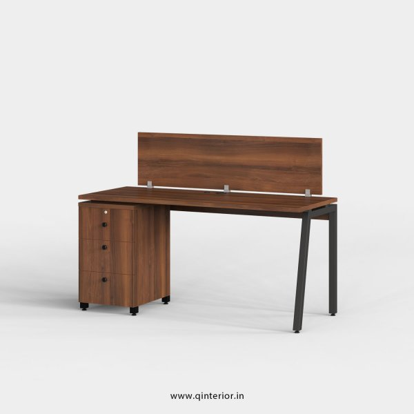 Berg Work Station with Pedestal Unit in Teak Finish - OWS104 C3