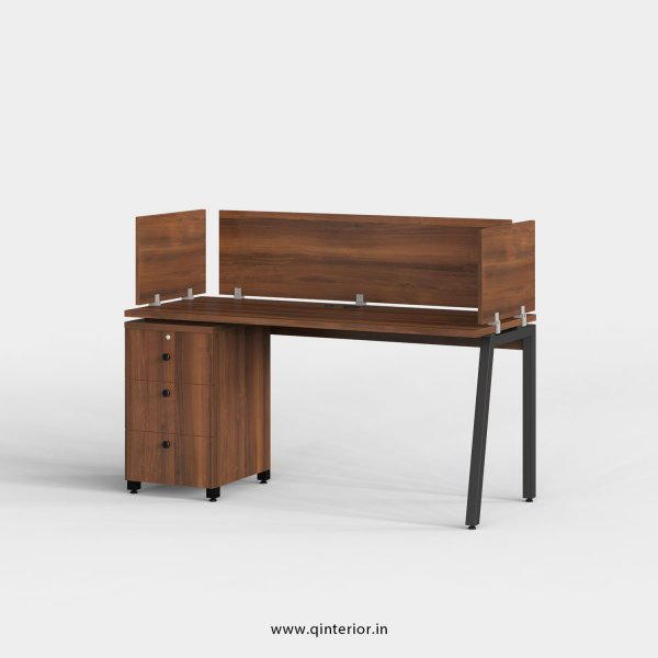 Berg Work Station with Pedestal Unit in Teak Finish - OWS112 C3
