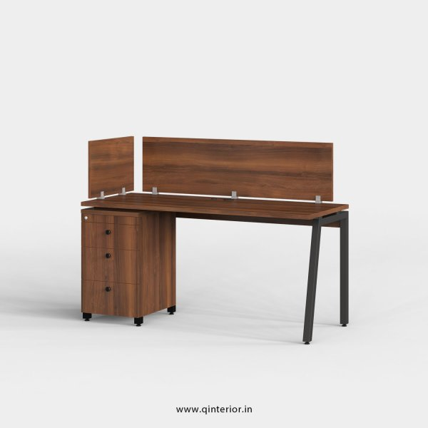 Berg Work Station with Pedestal Unit in Teak Finish - OWS122 C3