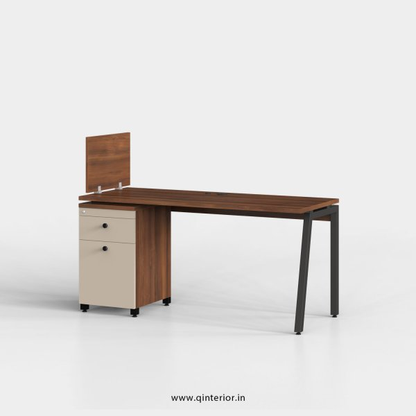 Berg Work Station with Pedestal Unit in Teak and Irish Cream Finish - OWS218 C11