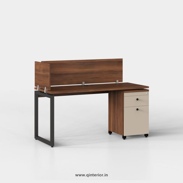Aaron Work Station with Pedestal Unit in Teak and Irish Cream Finish - OWS222 C11