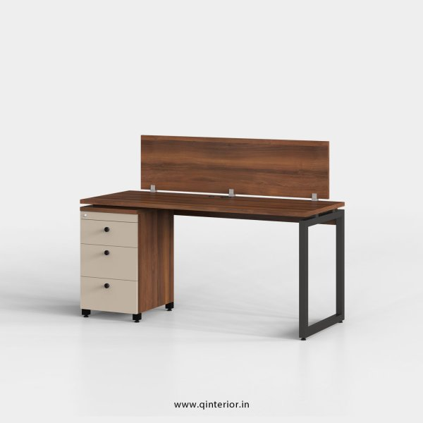 Aaron Work Station with Pedestal Unit in Teak and Irish Cream Finish - OWS116 C11