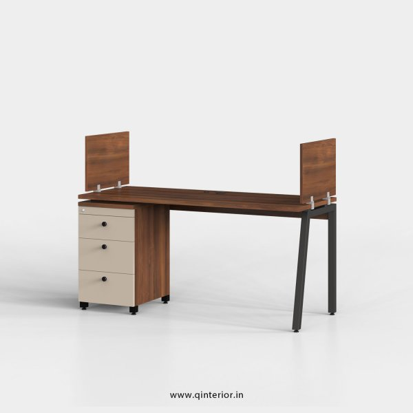 Berg Work Station with Pedestal Unit in Teak and Irish Cream Finish - OWS118 C11