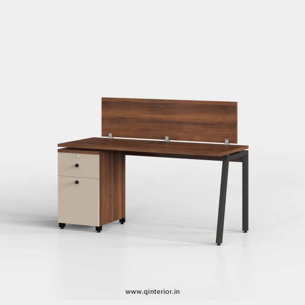 Berg Work Station with Pedestal Unit in Teak and Irish Cream Finish - OWS203 C11