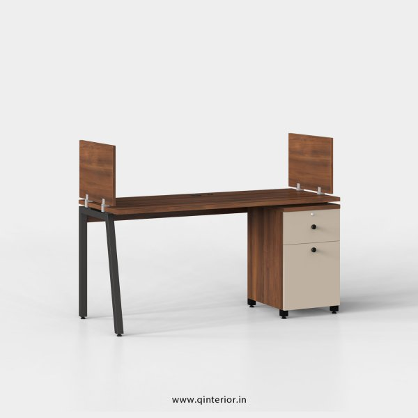 Berg Work Station with Pedestal Unit in Teak and Irish Cream Finish - OWS206 C11
