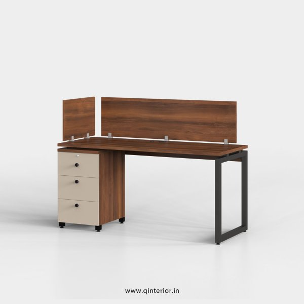 Aaron Work Station with Pedestal Unit in Teak and Irish Cream Finish - OWS110 C11